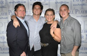 Weary (far left), pictured with sons and wife Zimmer. Credit: BroadwayWorld.com